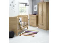 Baby Nursery Room 3 piece set includes cot/toddler bed, dresser/changer&wardrobe + Cotbed Mattress
