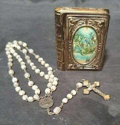 First Communion Souvenir Gift Mother of Pear Trinket Box Antique Mother of Pearl First Communion gift Rosary Beads Box