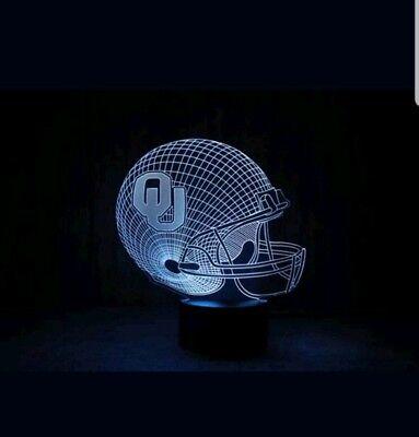 (7 Color Change NCAA Oklahoma Sooners 3D Visual LED Night Light Desk Table Lamp)