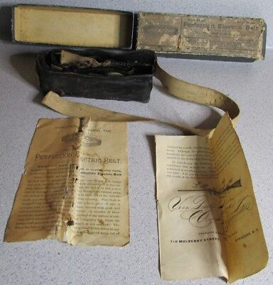 1901 BOGARDUS Perfection Electric Belt SYRACUSE NY Box Papers QUACK MEDICINE NR!