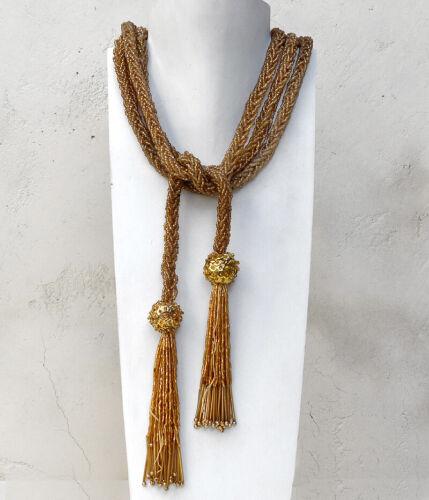 "Vintage 72"" Braided Gold Glass Beads Necklace Belt Tassels Sequins Flapper"
