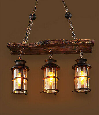 Vintage Retro Nautical Wrought Iron Pendant 3 Light Island Wood Hanging Lamp