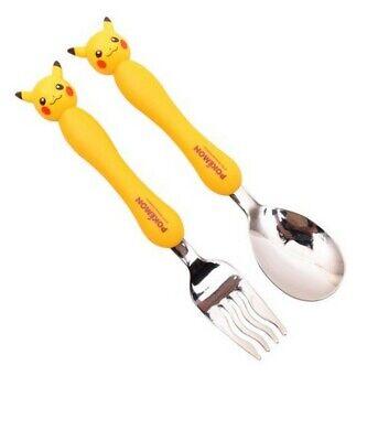Pokemon Pikachu Figure Topper Stanless Steel Spoon Fork Set For Kids Yellow
