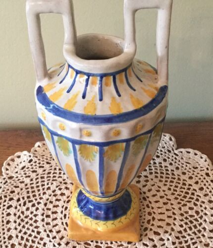 Vintage Deruta Italy Pottery Two Handled Amphora, Vase, Urn, Blue, Yellow 10.5  - $32.50