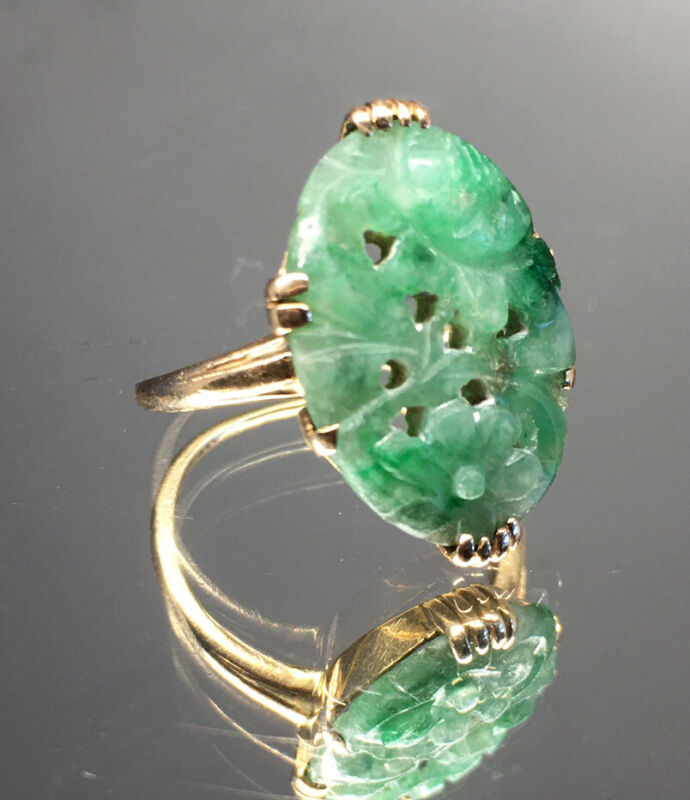 Antique Chinese Jade 14kt Yellow Gold Floral Ring Flower Carved Openwork