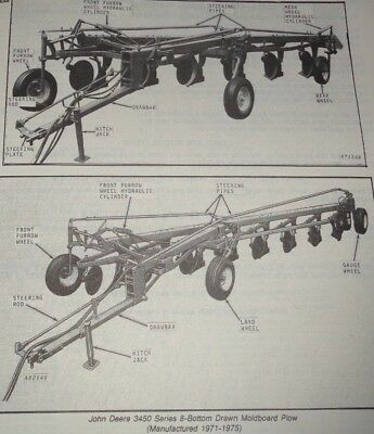 John Deere 3350 3450 Drawn Moldboard Plow Parts Catalog Manual Book Jd