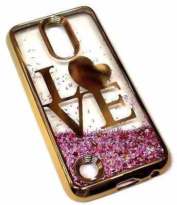 For Lg V5   K20 Plus Gold Trim Love Heart Pink Glitter Sparkle Liquid Skin Case