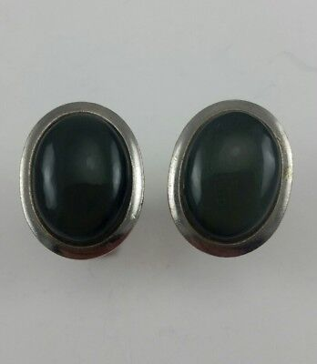 Vintage 50's Silver Tone Oval Cuff Links with a Gray Stone