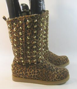 brown gold spikes toe comfortable winter mid calf