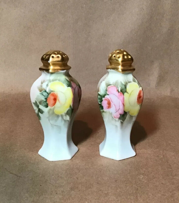 Antique Pair Hand Painted Salt & Pepper Shakers Epiage Pink Yellow Roses