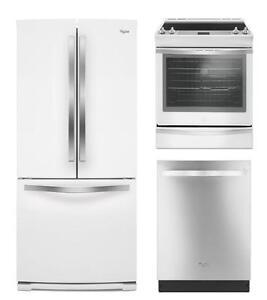 Combo cuisine Whirlpool : Frigo 30'', cuisinière 30'' et lave-vaisselle 24''