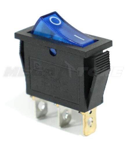 (1 PC) SPST On/Off 3 Pin Rocker Switch w/ BLUE Neon Lamp 20A/125VAC. USA SELLER!