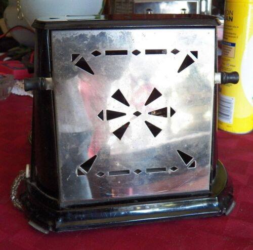 ANTIQUE TOASTER, ELECTRIC STERLING, 2 SLICE MANUAL TOASTER, WITH WOODEN KNOBS