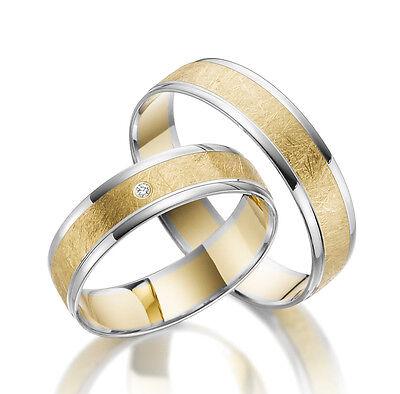 2 x 333 Trauringe Gelbgold Verlobungsringe Partnerringe GOLD Weißgold Bicolor