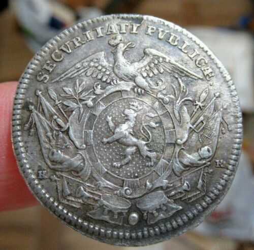1765 Rare Antique German States Silver Medal, City of Schwabach, Gorgeous Coin