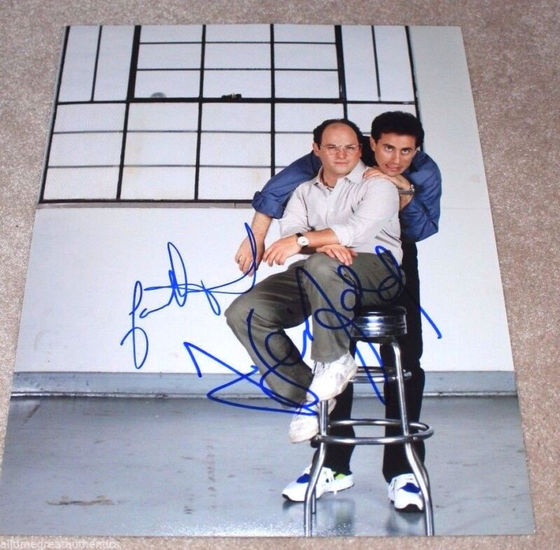 JERRY SEINFELD JASON ALEXANDER DUAL SIGNED 11X14 PHOTO COA PROOF GEORGE COSTANZA