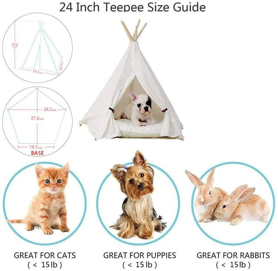 Little Dove Pet Teepee Tent Dog small Cat 24 Inch Without Cushion  - $14.99