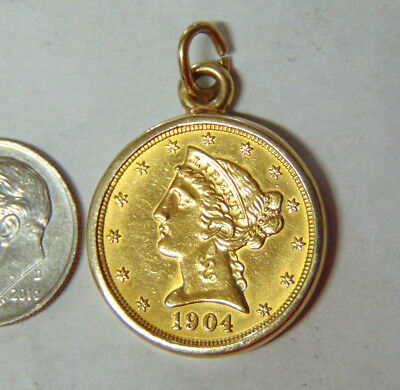 1904 $5 Gold Liberty Half Eagle in 14k Gold Bezel Coin Frame Pre-1933 Gold Coin