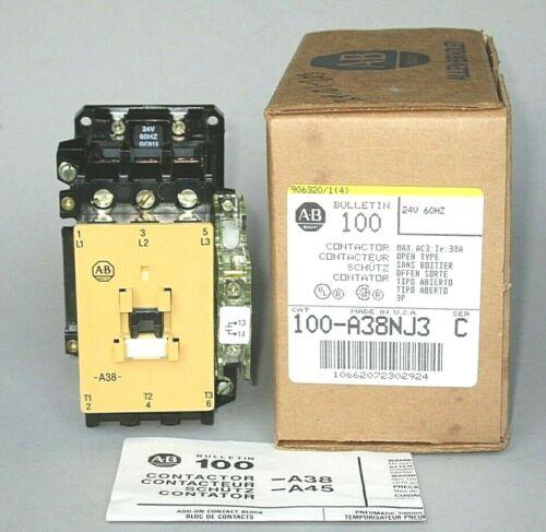 Allen-Bradley 100-A38NJ3 Contactor 24VAC Coil, 38 FLA, 25 HP, 80A Res, N.O. Aux.