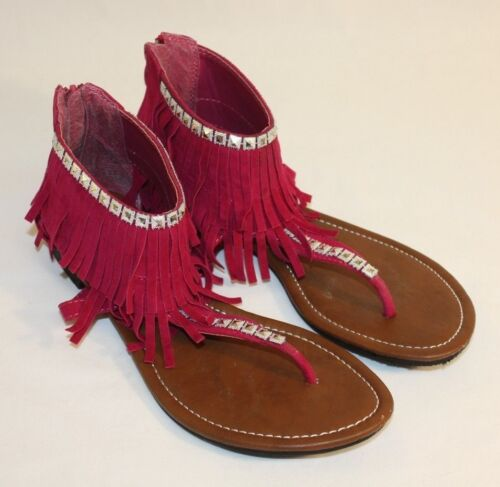 Kalli Womens Ladies Pink Silver Fringed Thong Sandals Shoes Size 9M