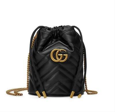 Gucci Bucket Marmont Gg 2.0 Mini Black Leather Shoulder Bag