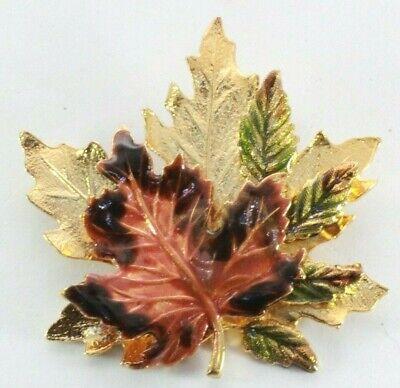 Brooch Pin - Signed KC Kenneth Cole - Maple Leaf - Brown Green Enamel Gold Tone Maple Leaf Brooch