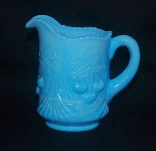 VINTAGE BLUE MARBLED  SLAG GLASS PITCHER