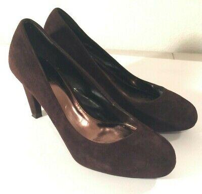 Ann Taylor Loft brown suede dress shoes cone high heels fall winter 6.5