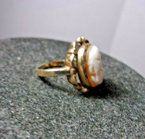 Vintage Antique 10K Yellow Gold Cameo Ring Size 5.75 Ladies Jewelry 3.7 Grams
