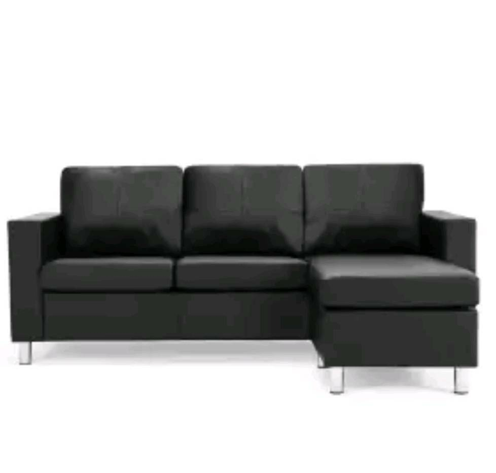 Black Faux Leather Corner Sofa In Poole Dorset Gumtree
