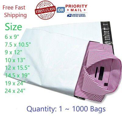 Poly Mailers Bags 6x9 7.5x10.5 9x12 10x13 12x15.5 14.5x19 19x24 24x24 500 1000