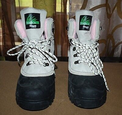 (Itasca Thinsulate Granite Peak Winter Boots Womens Sz 10 M Beige Black)