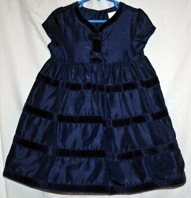 GYMBOREE blue ruffled dress in a size 3T Velvet accents Christmas