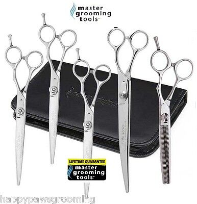 Master Grooming Tools 6 pc SHEAR SCISSOR SET THINNING,CURVED& 3 STRAIGHT Pet Dog