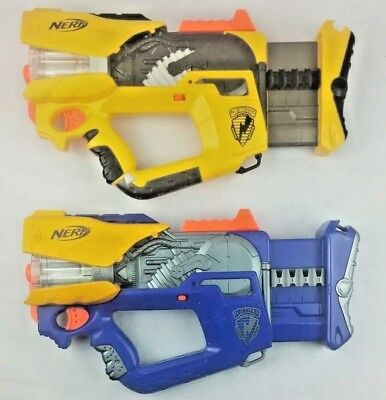 NERF Firefly Rev-8 N-Strike Blaster Dart Toy Gun X2 Light Up Yellow Blue