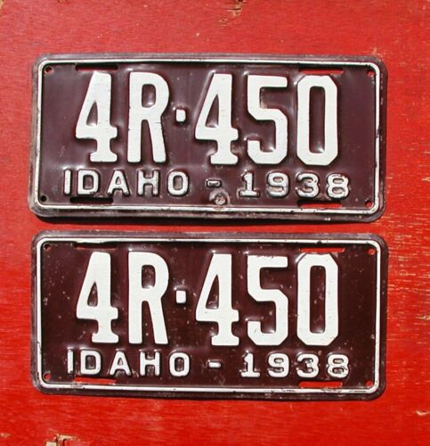 1938 Idaho Original PAIR 4R-450 License Plates