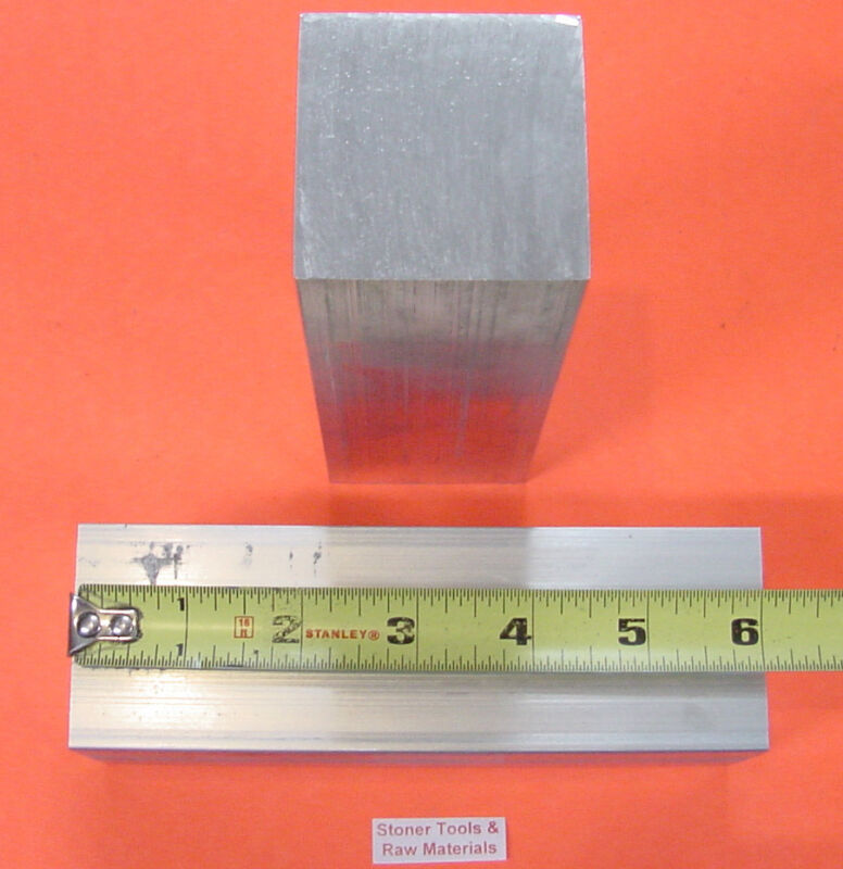 "2 pieces 2"" X 2"" ALUMINUM SQUARE 6061 T6511 FLAT BAR 6"" LONG SOLID  Mill Stock"