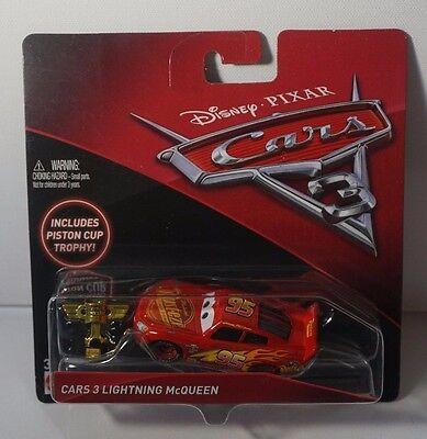 (Disney Pixar Cars 3 Lightning McQueen Die Cast With Piston Cup Trophy NEW 2016)