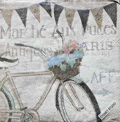 Set Of 2 Single Cocktail Beverage 2 Ply Napkins   French Flea Market Bicycle