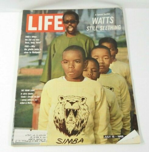 """VINTAGE LIFE MAGAZINE JULY 15, 1966 SPECIAL EDITION """"WATTS STILL SEETHING"""""""