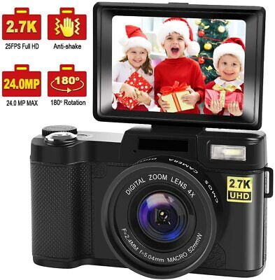 Digital Camera Vlogging Camera with YouTube 24MP 2.7k Full HD Camera with Flip S