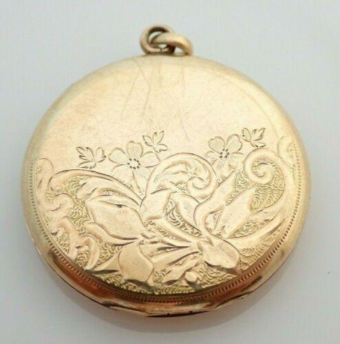 "Antique Gold Filled 1 1/4"" Picture Photo Locket Necklace Pendant"