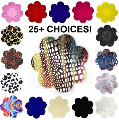 USA~Choice 1-5 Pair Breast Nipple Cover Pasties Satin Petal Flower Club Wear LOT