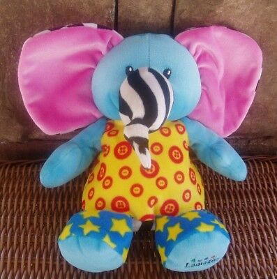 LAMAZE LITTLE KNOTTIES Blue Yellow Pink Plush Elephant Rattle Developmental Toy