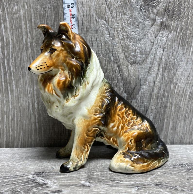 Vintage Unbranded Seated Collie Dog Figurine