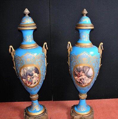 Pair Large Sevres Porcelain Amphora Vases Urns Ormolu Mounts