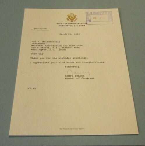 1988 California Congesswoman Nancy Pelosi Autograph Signed Letter House Speaker