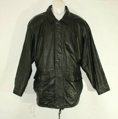 Vintage Men's Black Leather L.LAMBERTARRI Zip Hip Length Coat Jacket Size 46 /56