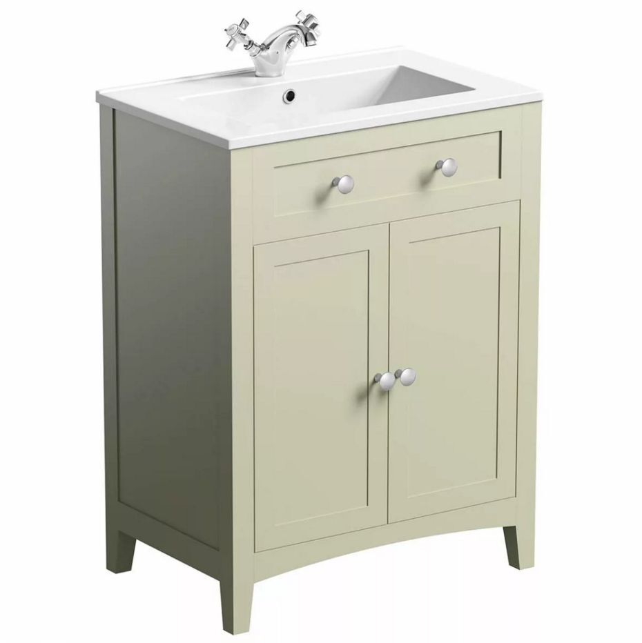 Brand New Victoria Plumb Sage Green Bathroom Vanity Unit With Sink