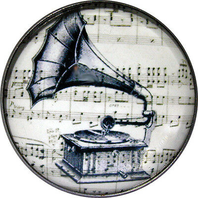 Crystal Dome Button - Black & White Phonograph Player - 1 Low Dome - Bw 06